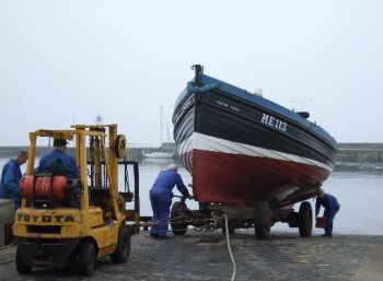 Launching White Wing after refit